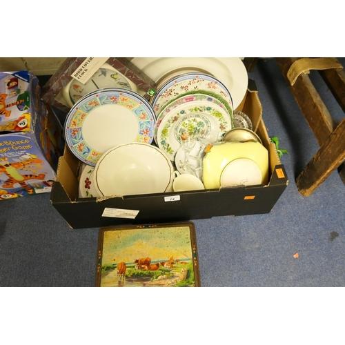 74 - Bird lover's clock, assorted dinner plates, household ceramics, vintage tin...