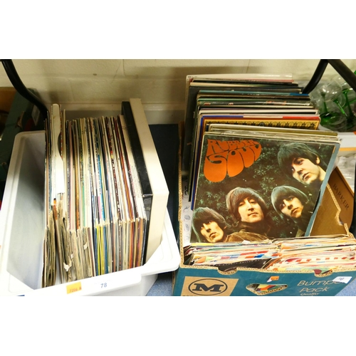 78 - Vintage LP records including Beatles