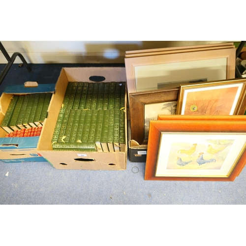 89 - AMENDMENT 10.54AM 05/08/19: Assorted framed prints with Dickens and Shakespeare books (3 boxes)...