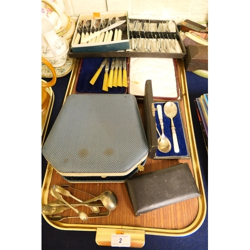 2 - Silver plated flatware, mainly boxed, and other flatware...