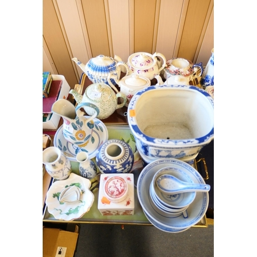 43 - Collection of teapots, Japanese sake bottle, Coalport ginger jar, Chinese and Japanese blue and whit...