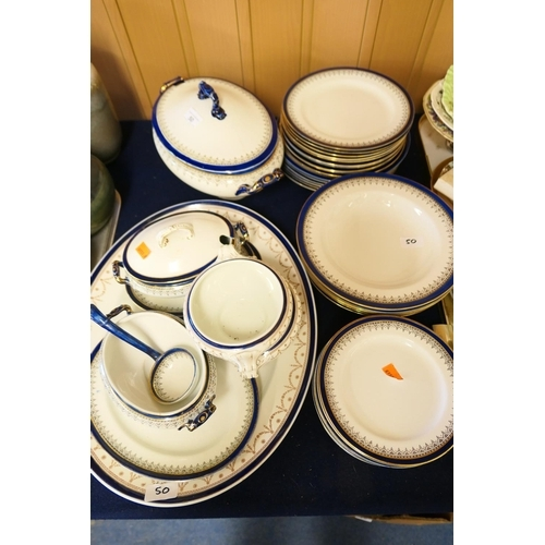 50 - CATALOGUE AMENDMENT 14.46PM 05/08/19: THIS IS DOULTON BURSLEM DINNERWARES AND OTHERS Blue and white ...