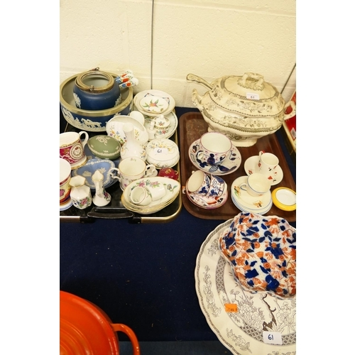 61 - Wedgwood jasper ware, Royal commemorative tankard, Victorian tureen, Sunderland lustre teacups and s...