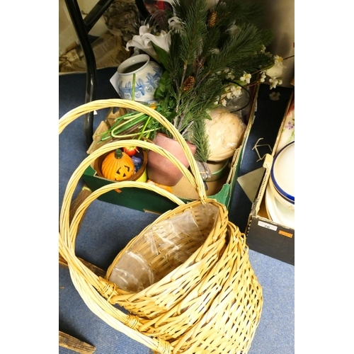 75 - Blank canvasses, ornamental fruit, faux plants in baskets...