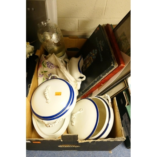 76 - Blue and white dinner wares, LP records, print embroidery and a pastel, glassware etc...