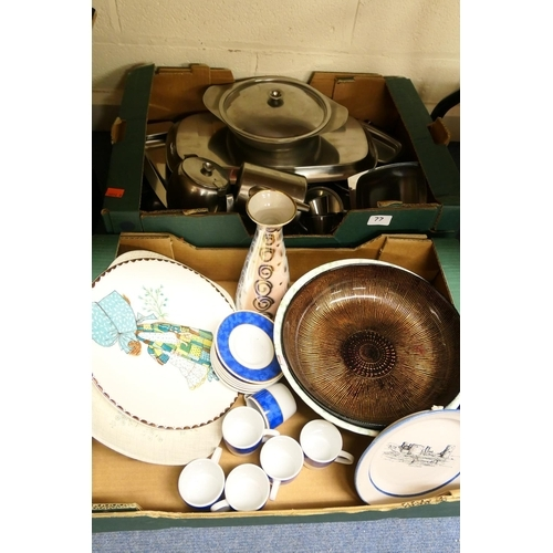 77 - Stainless steel tea and serving wares; also coffee cups, saucers, further ceramics (2 boxes)...