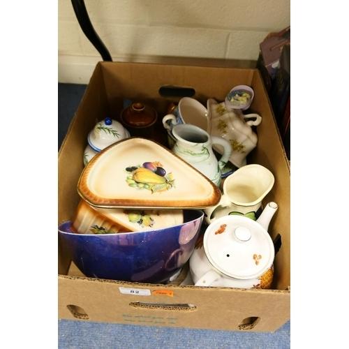 82 - Arthur Wood teapot, further tea wares and decorative ceramics (1 box)...