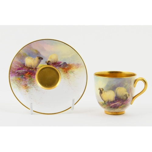 1 - Royal Worcester cabinet cup and saucer, circa 1933, decorated with sheep in a Highland landscape by ...