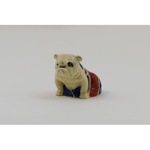 12 - Royal Doulton small model of bull dog, draped in the Union flag, printed marks, height 6.5cm...