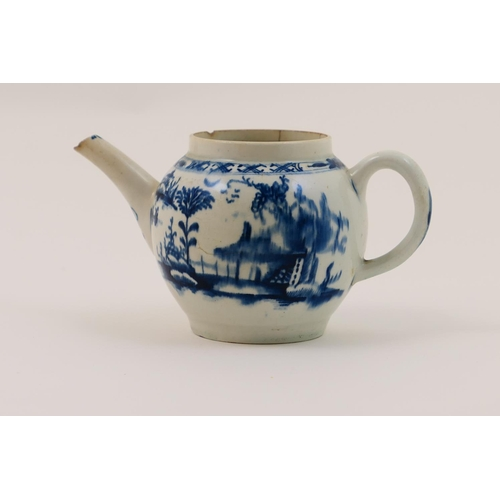 13 - Lowestoft porcelain teapot, circa 1765, decorated with the long fence pattern in underglaze blue (la...