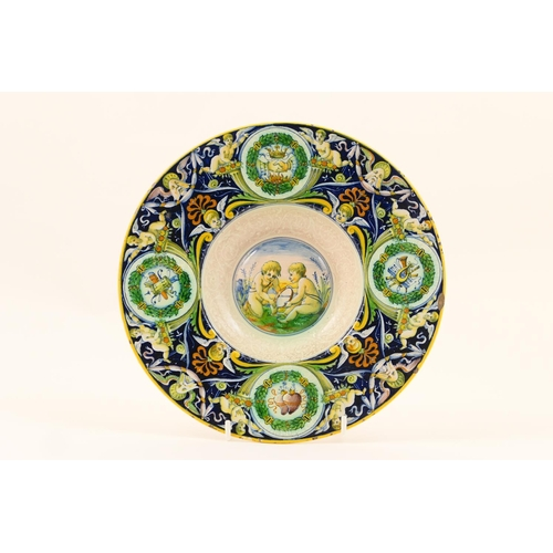 17 - Cantigalli maiolica marriage plate, decorated in traditional style with a border of unity wreaths ag...