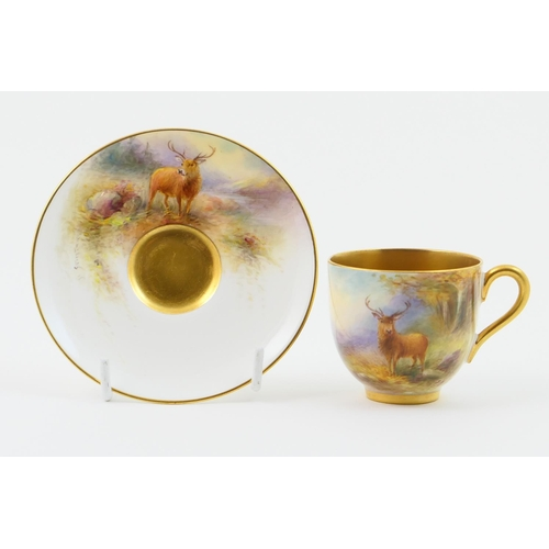 2 - Royal Worcester cabinet cup and saucer, circa 1931, decorated with a stag in a Highland landscape by...