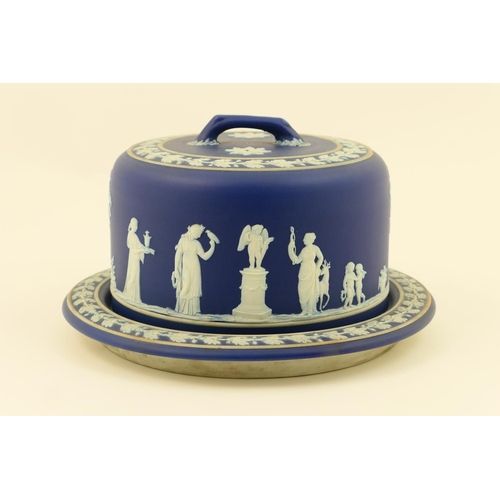 20 - Wedgwood dark blue jasper ware cheese stand and cover, circa 1910, decorated with classical figures ...