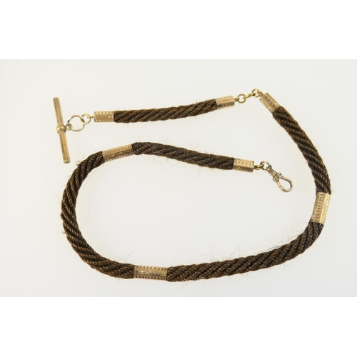216 - Victorian woven hair watch albert, with gold plated mounts, spring clip and T-bar, length 44cm...