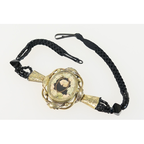 218 - Victorian memoriam choker necklace, circa 1870, centred with a yellow metal picture locket inset wit...