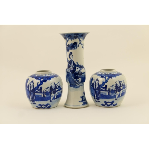 22 - Pair of Chinese blue and white ginger jars, late 19th Century, each decorated with figures within a ...