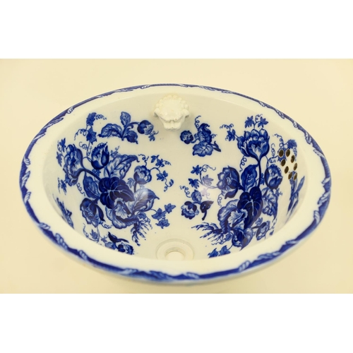 24 - Wedgwood blue and white printed 'water nymph' water basin, late 19th Century, 38cm...