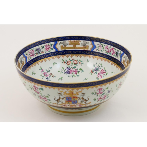 27 - Samson of Paris famille rose armorial bowl, circa 1900, decorated in Chinese style in famille rose e...