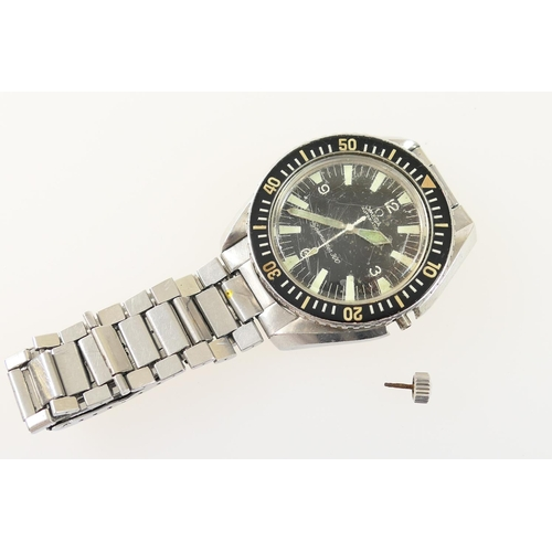 283 - Omega Seamaster 300 gent's stainless steel wristwatch, circa 1965, 45mm diameter black dial with bat...