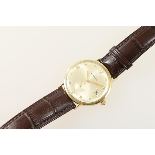 284 - Wittnauer 10ct rolled gold gent's wristwatch, circa late 1960s/early 1970s, champagne coloured dial ...