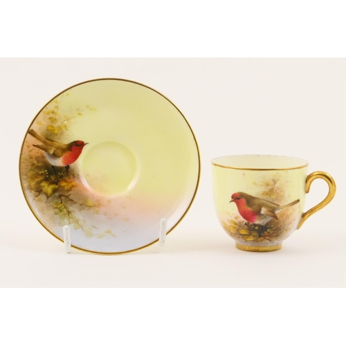 3 - Royal Worcester cabinet cup and saucer, circa 1932, decorated with a red breasted Robin by E Barker,...