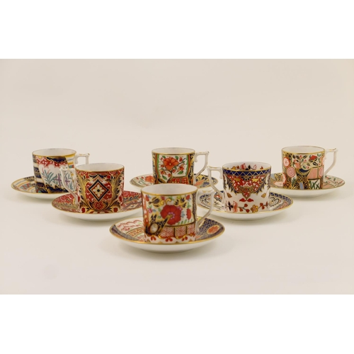 31 - Six Royal Crown Derby Old Japan pattern coffee cans and saucers, from The Curator's Collection, prin...