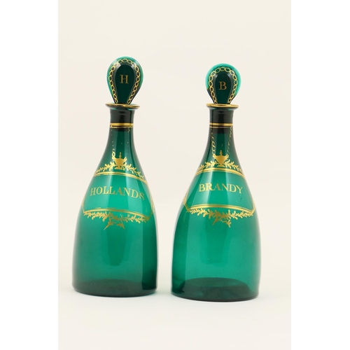 33 - Pair of Regency green glass spirit decanters, circa 1820, mallet form, each with a flattened stopper...