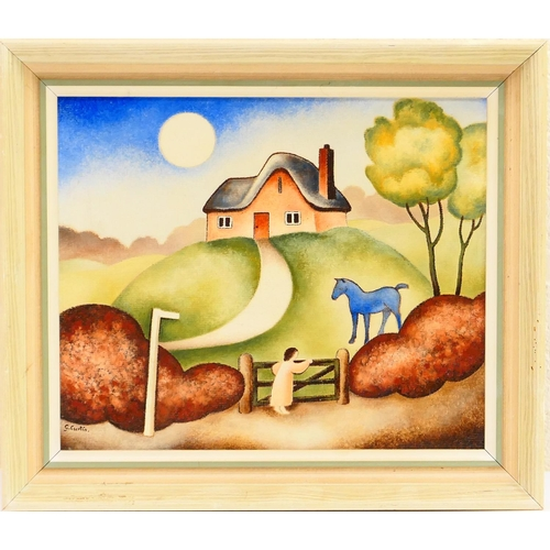 343 - Guy Curtis (Contemporary), The blue horse, oil on canvas board, signed, titled verso, 25cm x 30cm Pr...