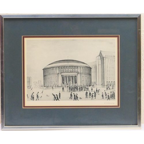 345 - Laurence Stephen Lowry (1887-1976), Manchester Reference Library, offset lithograph en grisaille, si...
