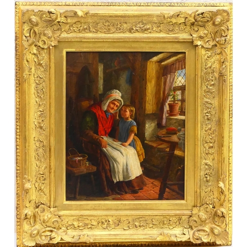 376 - David Hardy (active 1835-70), Secrets, oil on panel, titled and inscribed to an original label verso...