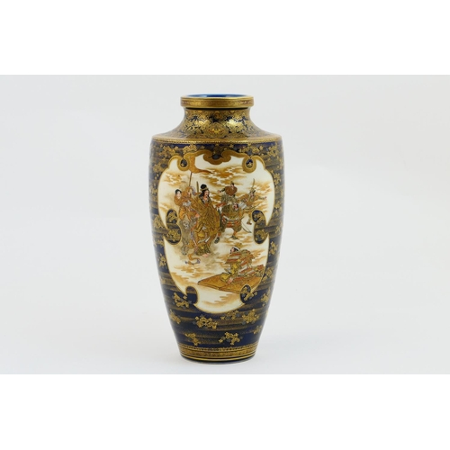 50 - Fine Japanese Satsuma vase by Kinkozan, Meiji (1868-1912), shouldered ovoid form, decorated with pan...