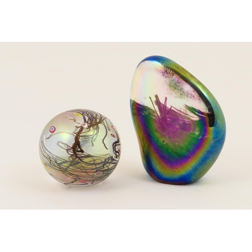 51 - John Ditchfield Glasform 'Moorland Landscape' paperweight, in iridescent colours, signed to the base...