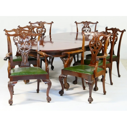 580 - Warings mahogany dining room suite, in the Chippendale Revival style, comprising an extending dining...