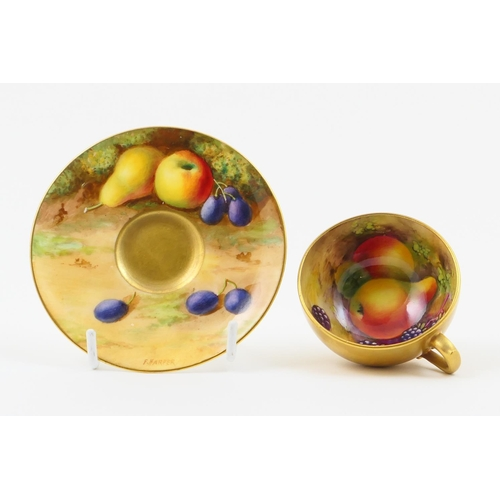 7 - Royal Worcester cabinet cup and saucer, circa 1926, hand decorated with fruits by F Harper, and with...