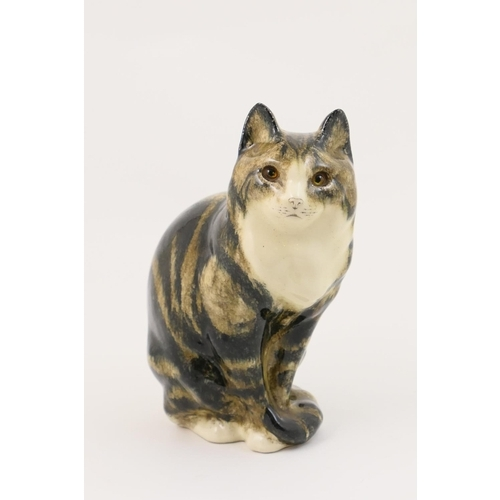 40 - Winstanley pottery tabby cat, painted marks, 29.5cm...