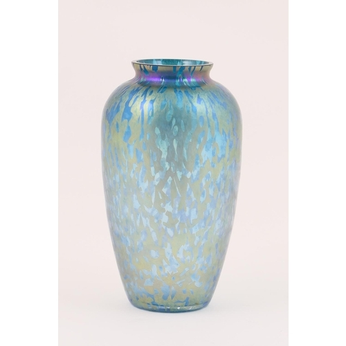 42 - Royal Brierley studio iridescent glass vase, shouldered ovoid form tinted with purple iridescence ov...