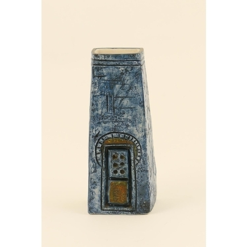 46 - Troika obelisk vase, tapered square section incised with arched and domino forms in predominantly bl...
