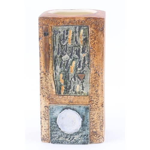 47 - Troika slab vase, rectangular section incised with abstract panels in textured blues and browns agai...