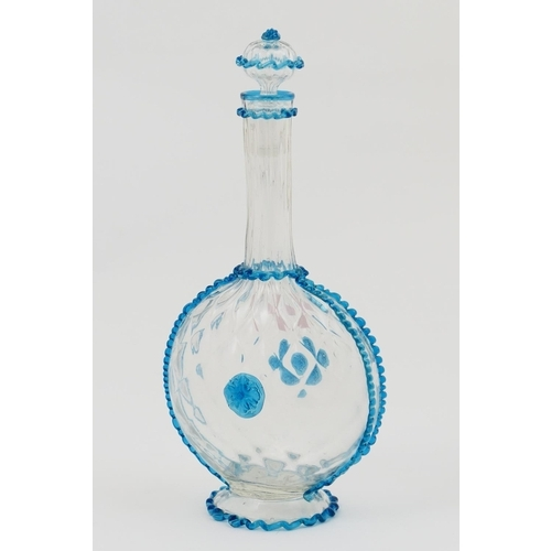 49 - Salviati glass pilgrim flask, moulded clear form decorated with applied ribbons of blue glass and tw...