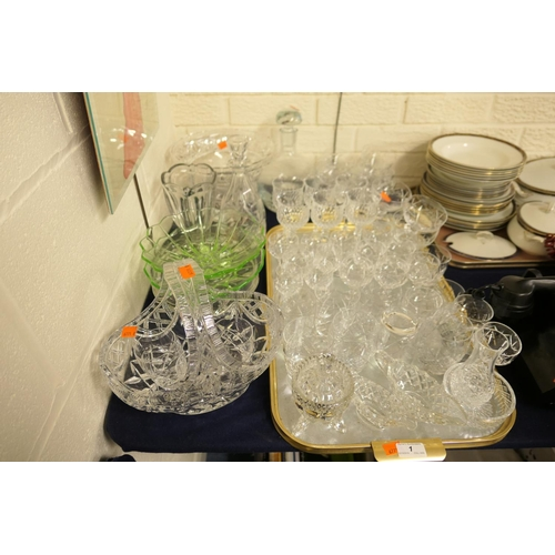 1 - Quantity of mixed glassware including cut glass table basket, footed fruit bowl, decanters, pedestal...