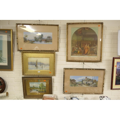 11 - Gilt framed watercolour, 'Boats in a harbour', signed E Atcherlsy, pair of framed chromo-lithographi...