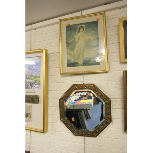 23 - Gilt framed print of a young lady in a white bonnet; also Victorian pressed brass framed octagonal w...