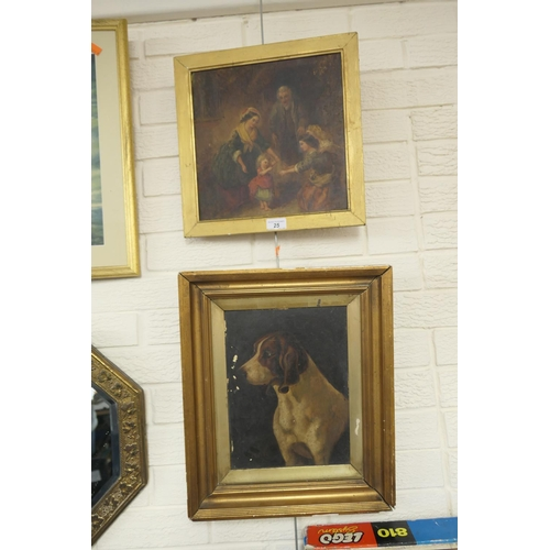 25 - Victorian oil painting, 'The first steps'; also further Victorian oil painting of a beagle (2)...