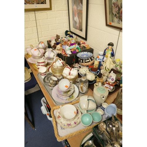 32 - Mixed china and ornaments including Victorian china tea service, Poole Pottery tea service, Belleek ...