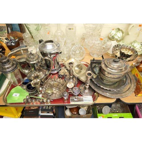 39 - Mixed Victorian and later silver plated wares including coffee pot, candlesticks, bowls and comports...