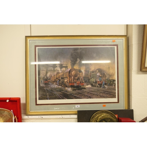 46 - Terence Cuneo, signed limited edition coloured print, 'Stabling for giants' No. 180/500...