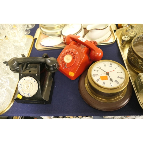5 - GPO black Bakelite dial telephone (332L); also GPO red dial telephone and a bulkhead style quartz wa...