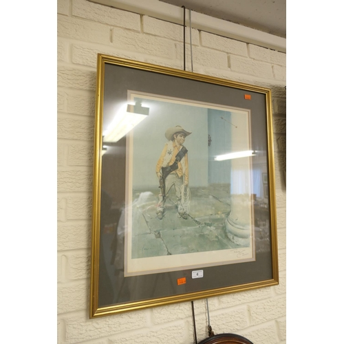 6 - Terence Cuneo, signed coloured print, 'The young cowboy'...