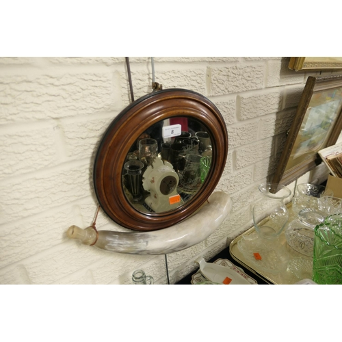 8 - Victorian mahogany framed circular wall mirror and Scottish carved horn flask (2)...