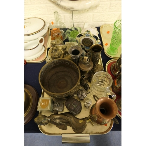 7 - Mixed Eastern metal wares, Continental pottery mantel clock, pair of brass crinoline hand bells and ...